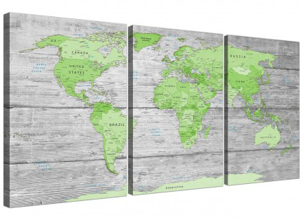 Large Lime Green Grey World Map Atlas Canvas Wall Art Print - Multi Triptych - 3301