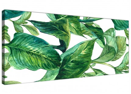 Green Palm Tropical Banana Leaves Canvas Wall Art Print - Modern 120cm Wide - 1324