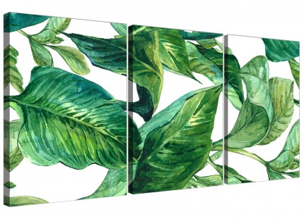 Green Palm Tropical Banana Leaves Canvas Wall Art Print - Split Triptych - 3324