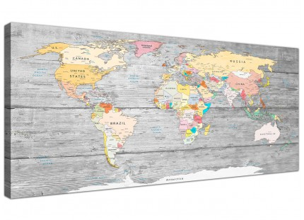 Large Map of World Canvas Art Print - Colourful Light Grey - Modern 120cm Wide - 1306