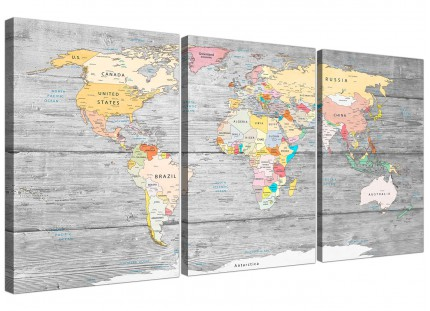 Large Map of World Canvas Art Print - Colourful Light Grey - Multi Set of 3 - 3306