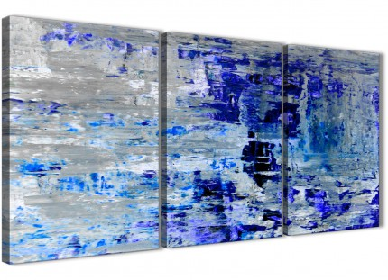 Indigo Blue Grey Abstract Painting Wall Art Print Canvas - Multi 3 Part - 125cm Wide - 3358