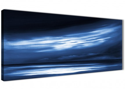 Indigo Blue White Abstract Sunset Modern Canvas Wall Art - 120cm Wide - 1332