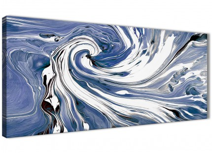 Indigo Blue White Swirls Modern Abstract Canvas Wall Art - 120cm Wide - 1352
