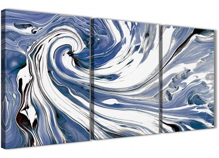 Indigo Blue White Swirls Modern Abstract Canvas Wall Art - Multi 3 Set - 125cm Wide - 3352