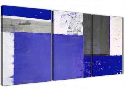 Indigo Navy Blue Abstract Painting Canvas Wall Art Print - Split 3 Set - 125cm Wide - 3338