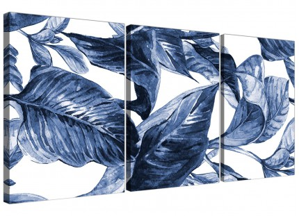 Indigo Navy Blue White Tropical Leaves Canvas Wall Art - Split Set of 3 - 3320