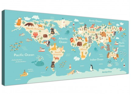 Animal Map of World Atlas Canvas Art for Childrens Nursery - Educational Kids Pictures - 120cm Wide - 1293