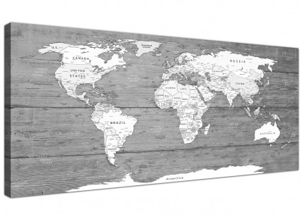Large Black White Map of World Atlas - Canvas Wall Art Print - Modern 120cm Wide - 1315