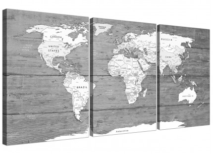 Large Black White Map of World Atlas - Canvas Wall Art Print - Multi Set of 3 - 3315