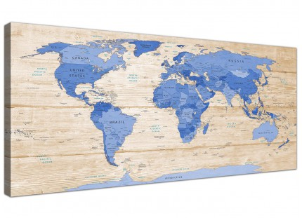 Large Blue Cream Map of World Atlas Canvas Wall Art Print - Modern 120cm Wide - 1308