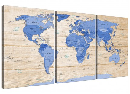 Large Blue Cream Map of World Atlas Canvas Wall Art Print - Split set of 3 - 3308