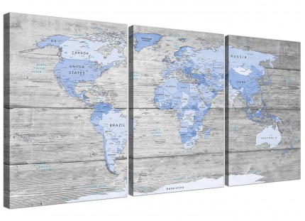 Large Blue Grey Map of World Atlas Canvas Wall Art Prints 3 Piece 125cm wide - 3303