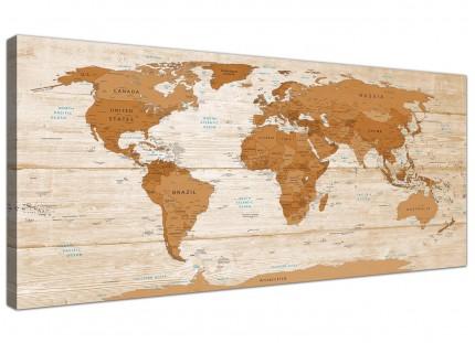 Large Brown Cream Map of World Atlas Canvas Wall Art Print - Modern 120cm Wide - 1307