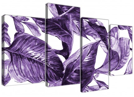 Large Dark Purple White Tropical Exotic Leaves Canvas Wall Art - Multi 4 Piece - 4322
