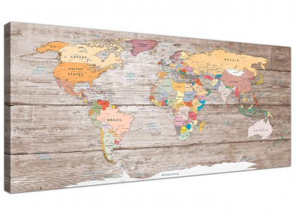 Large Decorative Map of World Atlas Canvas Wall Art Print - Modern 120cm Wide - 1326