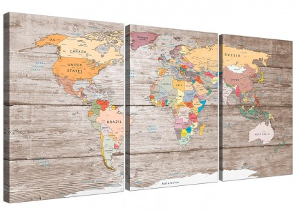 Large Decorative Map of World Atlas Canvas Wall Art Print - Multi 3 Set - 3326