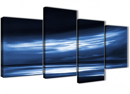Large Indigo Blue White Abstract Sunset Modern Canvas Wall Art - Split 4 Panel - 130cm Wide - 4332