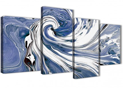 Large Indigo Blue White Swirls Modern Abstract Canvas Wall Art - Multi 4 Piece - 130cm Wide - 4352