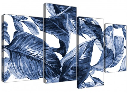 Large Indigo Navy Blue White Tropical Leaves Canvas Wall Art - Split 4 Piece - 4320
