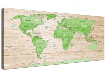 Large Lime Green Cream World Map Atlas Canvas Wall Art Prints - Modern 120cm Wide - 1310