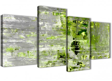 Large Lime Green Grey Abstract Painting Wall Art Print Canvas - Multi 4 Part - 130cm Wide - 4360
