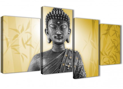Large Mustard Yellow and Grey Silver Canvas Art Print of Buddha - Split 4 Set - 4328