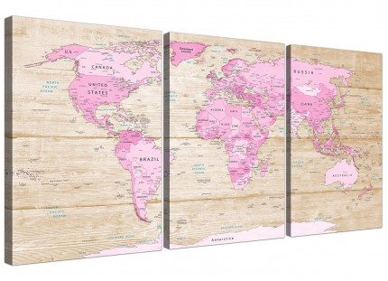 Large Pink Cream Map of World Atlas Canvas Wall Art - Multi 3 Piece - 3309