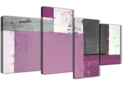 Large Purple Grey Abstract Painting Canvas Wall Art Picture - Multi 4 Set - 130cm Wide- 4355