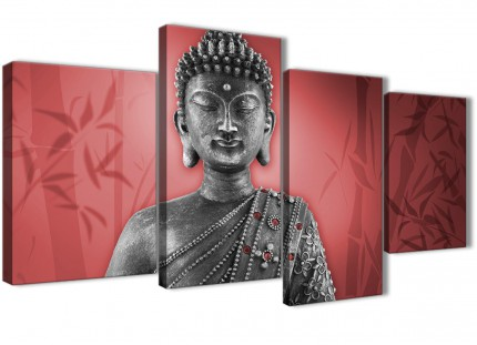 Large Red and Grey Silver Canvas Art Prints of Buddha - Split 4 Piece - 4331