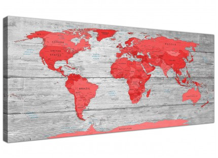Large Red Grey Map of the World Atlas Canvas Wall Art Print Modern 120cm Wide - 1300