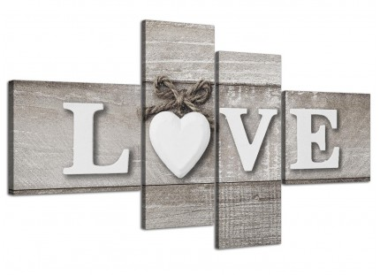 Large Shabby Chic Love Quote - Grey Canvas Wall Art Picture - Multi 4 Piece - 4297