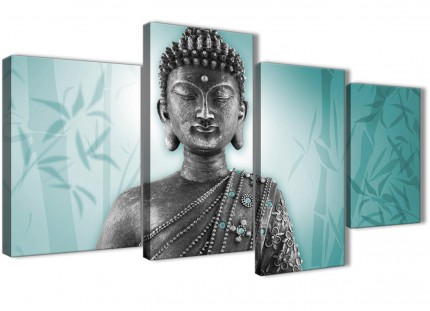 Large Teal and Grey Silver Canvas Art Prints of Buddha - Split 4 Piece - 4327