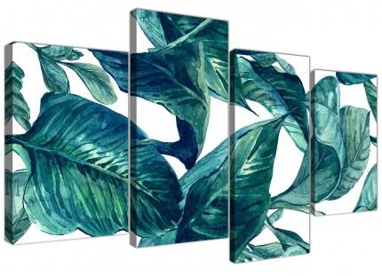 Large Teal Blue Green Tropical Exotic Leaves Canvas Wall Art Print - Multi 4 Piece - 4325