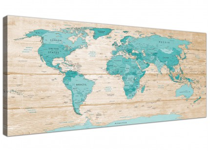 Large Teal Cream Map of World Atlas Canvas Wall Art Prints - Modern 120cm Wide - 1313