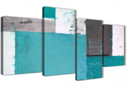 Large Teal Grey Abstract Painting Canvas Wall Art Split 4 Part - 130cm Wide - 4344