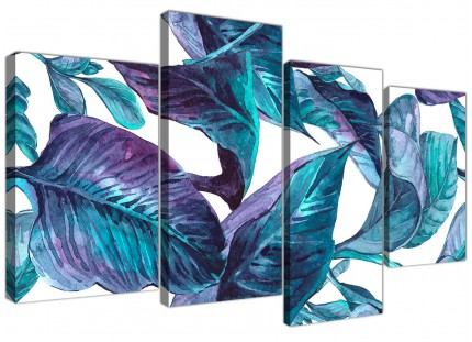 Large Turquoise and White Tropical Leaves Canvas Wall Art Prints - Split 4 Piece - 4323