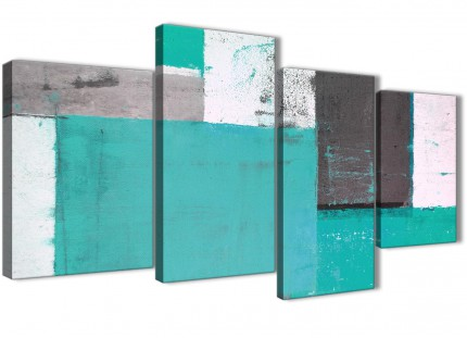 Large Turquoise Grey Abstract Painting Canvas Wall Art Multi 4 Piece - 130cm Wide - 4345