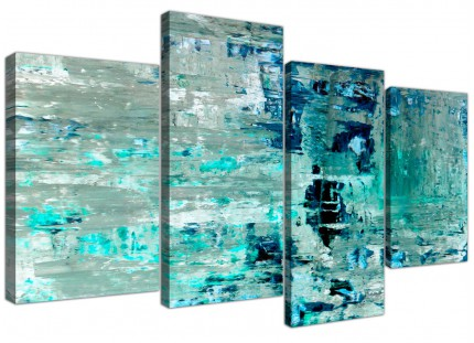 Large Turquoise Teal Abstract Painting Wall Art Print Canvas - Split 4 Panel - 4333