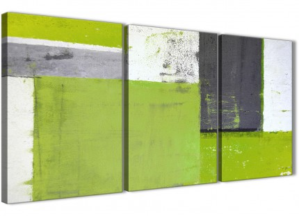Lime Green Grey Abstract Painting Canvas Wall Art Print - Multi Set of 3 - 125cm Wide - 3339
