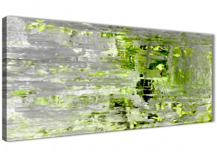 Lime Green Grey Abstract Painting Wall Art Print Canvas - Modern 120cm Wide - 1360