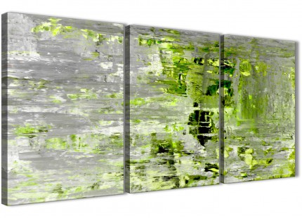 Lime Green Grey Abstract Painting Wall Art Print Canvas - Multi 3 Part - 125cm Wide - 3360