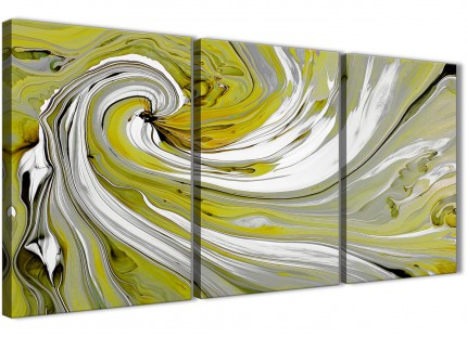 Lime Green Swirls Modern Abstract Canvas Wall Art - Split 3 Set - 125cm Wide - 3351