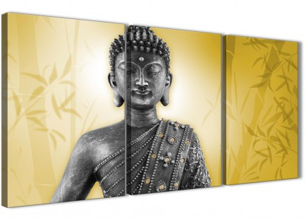 Mustard Yellow and Grey Silver Canvas Art Print of Buddha - Split 3 Piece - 3328