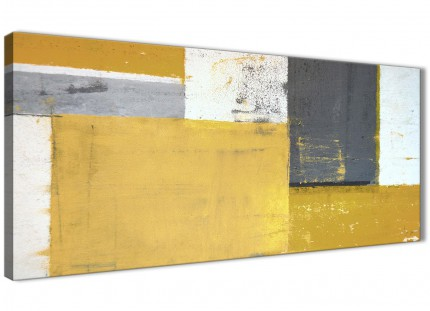 Mustard Yellow Grey Abstract Painting Canvas Wall Art Print - Modern 120cm Wide - 1340