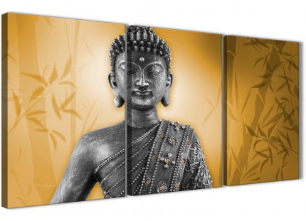 Orange and Grey Silver Canvas Art Prints of Buddha - Split 3 Piece - 3329