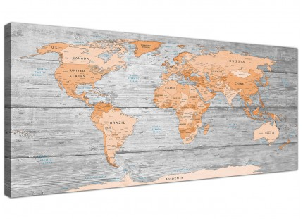 Large Orange Grey Map of World Atlas Canvas Wall Art Print - Modern 120cm Wide - 1304