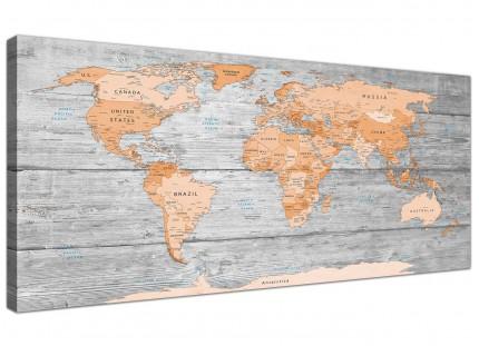 Large Orange Grey Map of World Atlas Canvas Wall Art Print - Modern 120cm Wide - 1304
