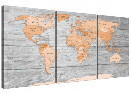 Large Orange Grey Map of World Atlas Canvas Wall Art Print - Multi 3 Set - 3304