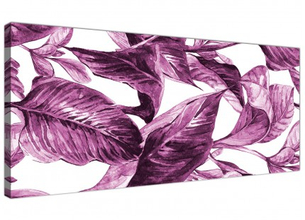 Plum Aubergine White Tropical Leaves Canvas Wall Art - Modern 120cm Wide - 1319